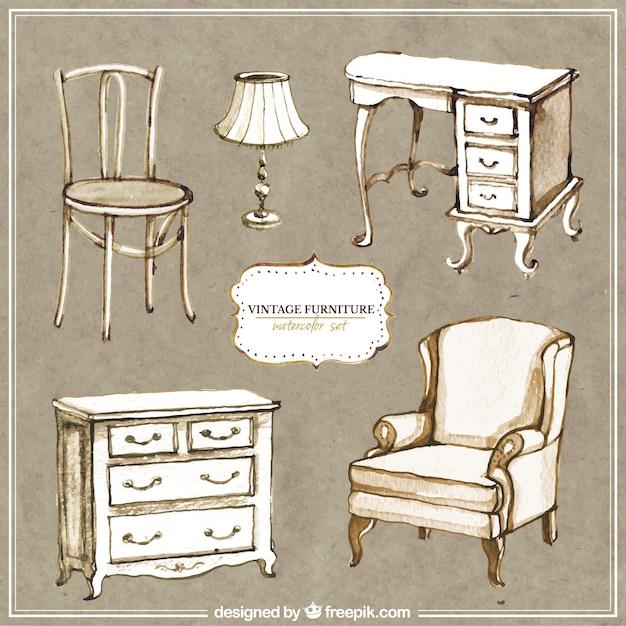 muebles pintados a mano vintage descargar vectores gratis
