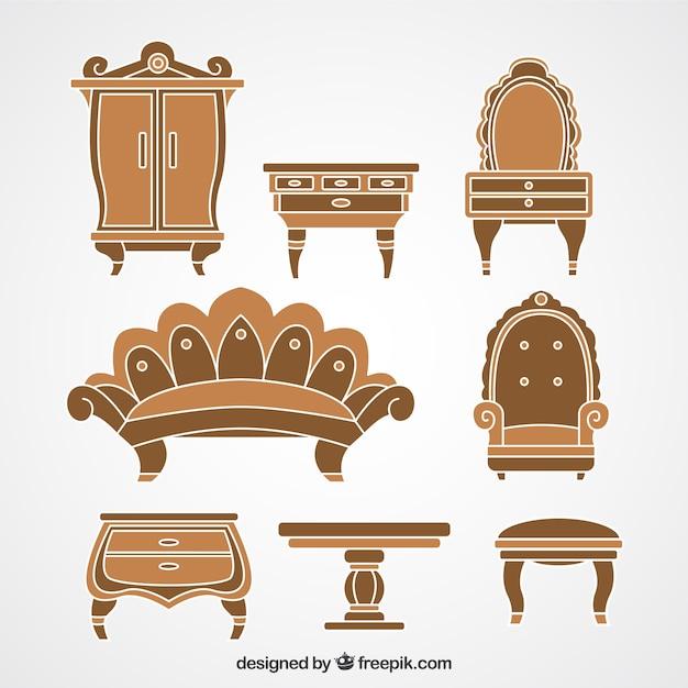 Muebles retro de madera descargar vectores premium for Vintage muebles y objetos