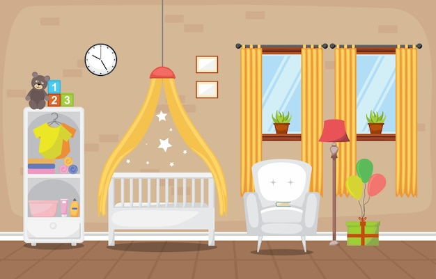 Muebles del sitio interior del dormitorio de los niños del bebé del niño Vector Premium