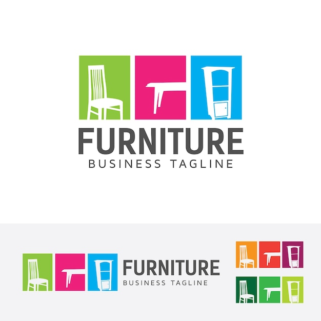 Muebles y plantilla de logotipo de vector interior for Software muebleria