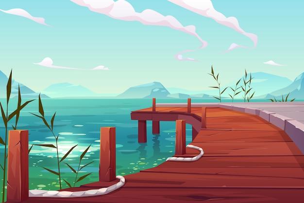Muelle de madera con cuerdas en la ilustración del paisaje natural del río vector gratuito