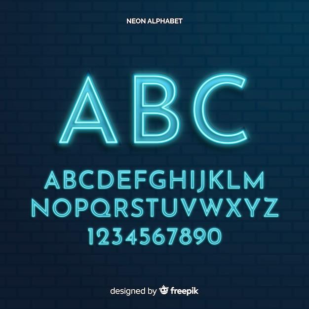 Muestra alfabeto neón vector gratuito