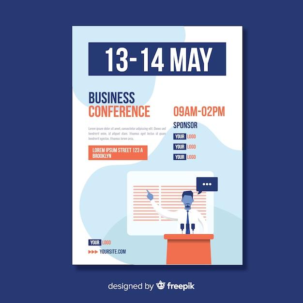 Muestra flyer abstracto plano conferencia de negocios vector gratuito