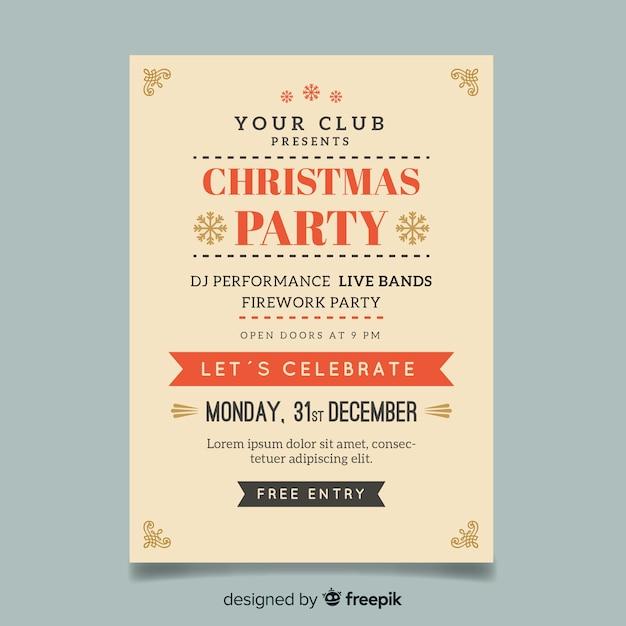 Muestra flyer poster simple fiesta navidad vector gratuito