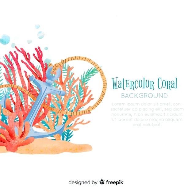 Muestra fondo acuarela coral vector gratuito