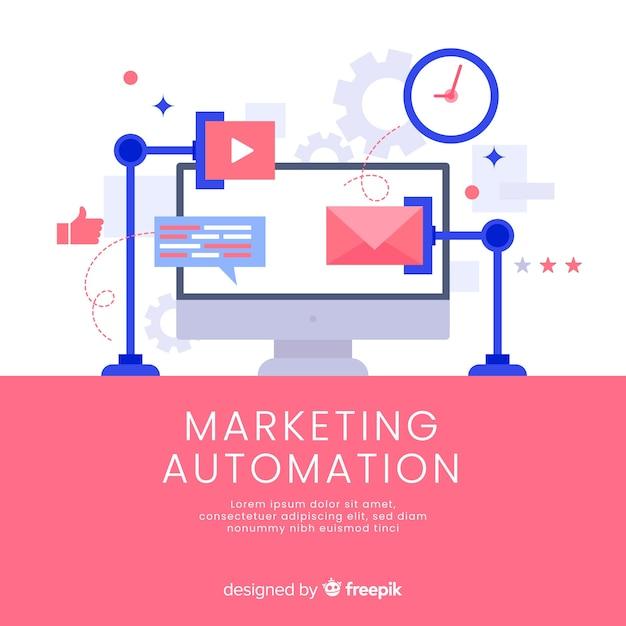 Muestra fondo automatización márketing Vector Premium