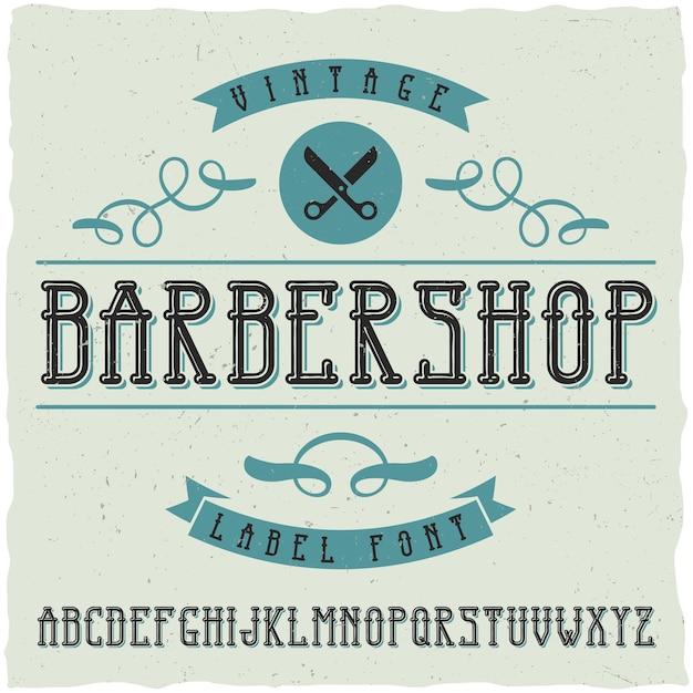 Muestra y fuente de etiqueta de peluquería vector gratuito