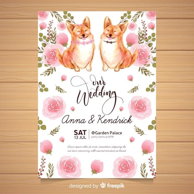 Muestra invitación boda animales acuarela vector gratuito