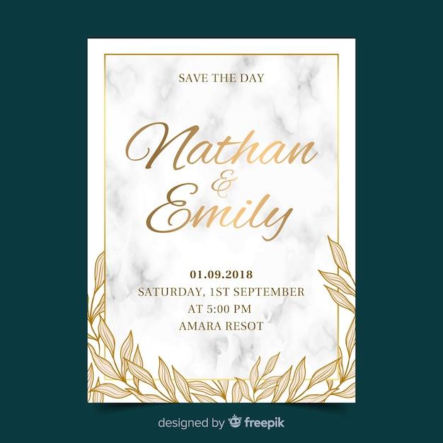 Muestra invitación boda dorada vector gratuito