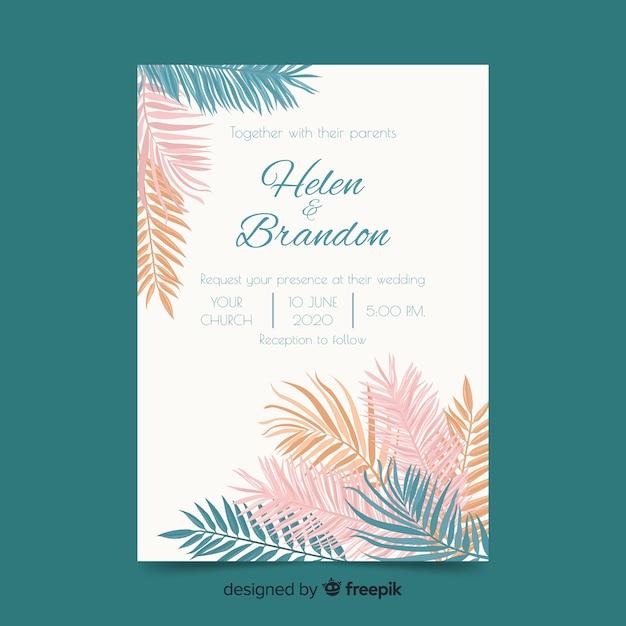 Muestra invitación boda hojas de palmera de colores pastel vector gratuito