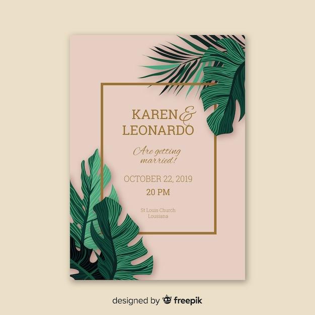 Muestra invitación boda hojas de palmera vector gratuito