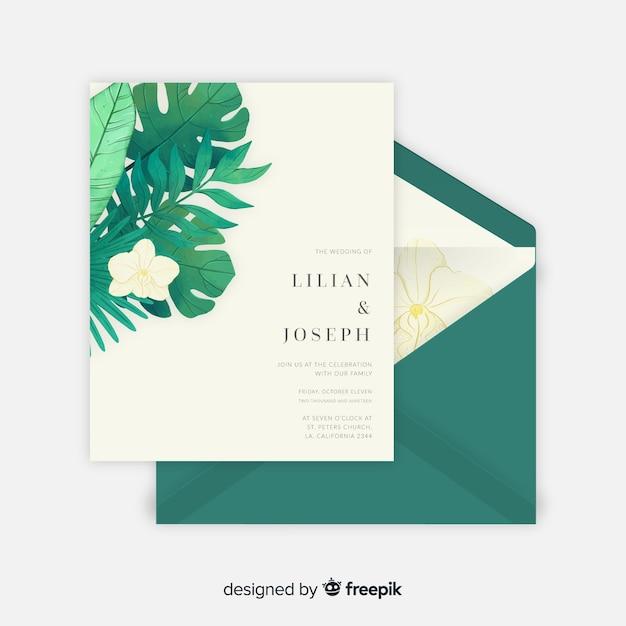 Muestra invitación boda hojas tropicales acuarela vector gratuito
