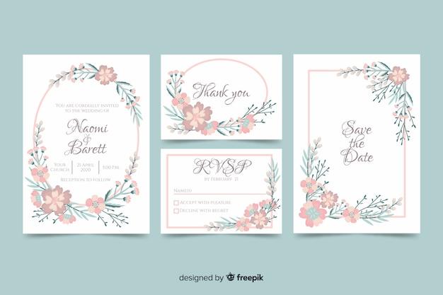 Muestra invitación boda marco floral vector gratuito