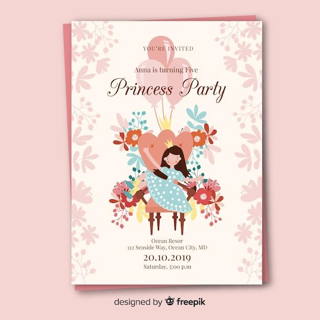 Muestra invitación fiesta de princesas dibujada a mano con flores vector gratuito