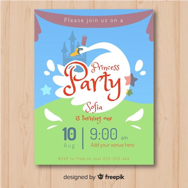 Muestra invitación fiesta de princesas dibujada a mano vector gratuito