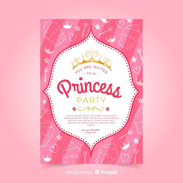 Muestra invitación fiesta de princesas garabatos vector gratuito