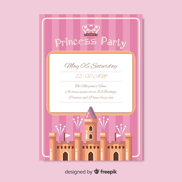Muestra invitación fiesta de princesas plana vector gratuito