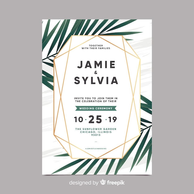 Muestra invitaciones de boda hojas palmera realistas vector gratuito
