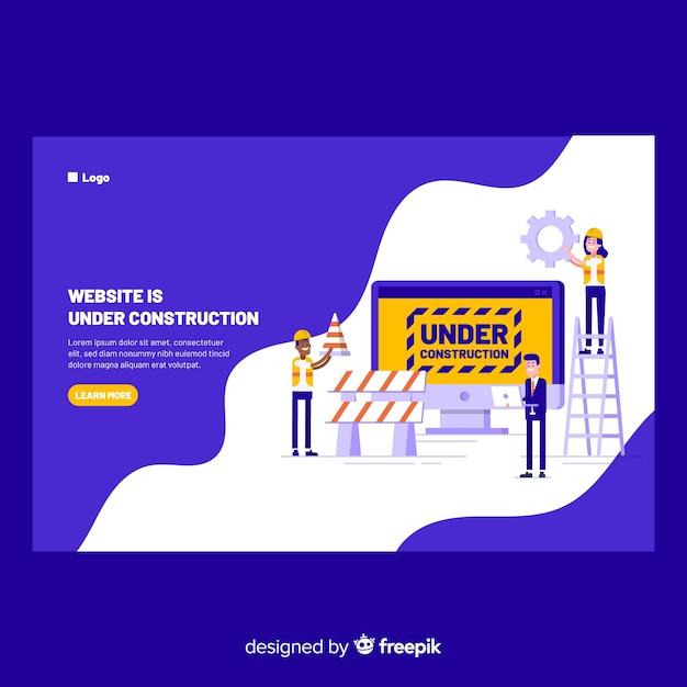 Muestra landing page en construcción vector gratuito