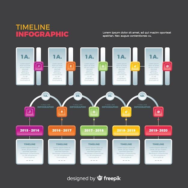 Muestra línea temporal infográfica diseño plano vector gratuito