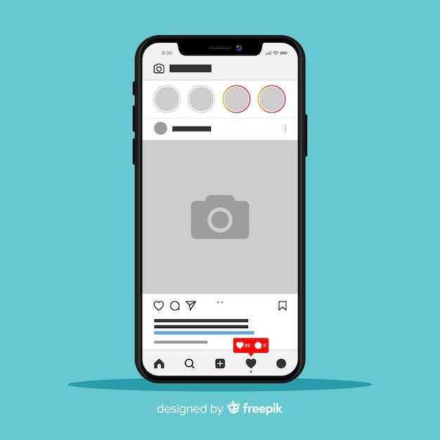 Muestra de marco de fotos de instagram en iphone vector gratuito