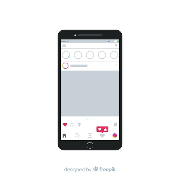 Muestra marco instagram realista en iphone vector gratuito