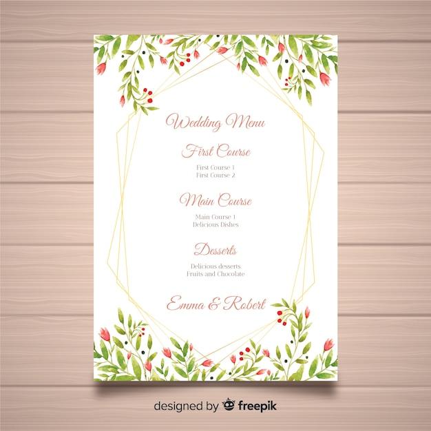 Muestra menú de boda floral acuarela vector gratuito