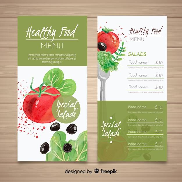 Muestra menú comida natural vector gratuito