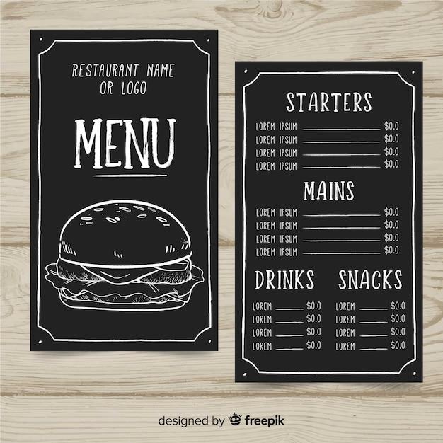 Muestra menú hamburguesería vector gratuito