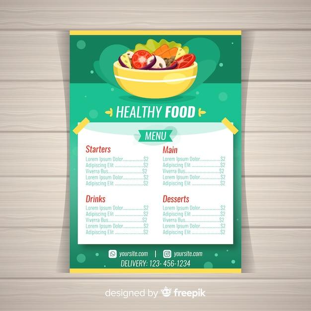Muestra menú saludable colorido vector gratuito