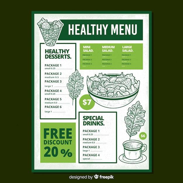 Muestra menú saludable ensalada dibujada a mano vector gratuito