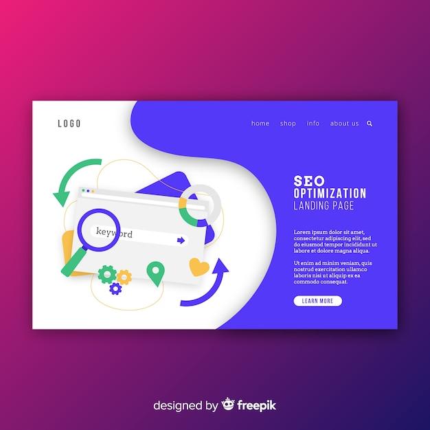 Muestra página de destino optimización en buscadores vector gratuito