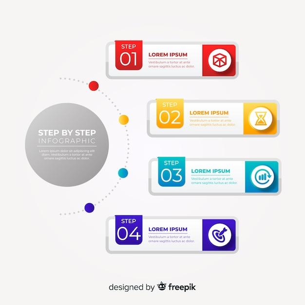 Muestra pasos de infografía planos vector gratuito