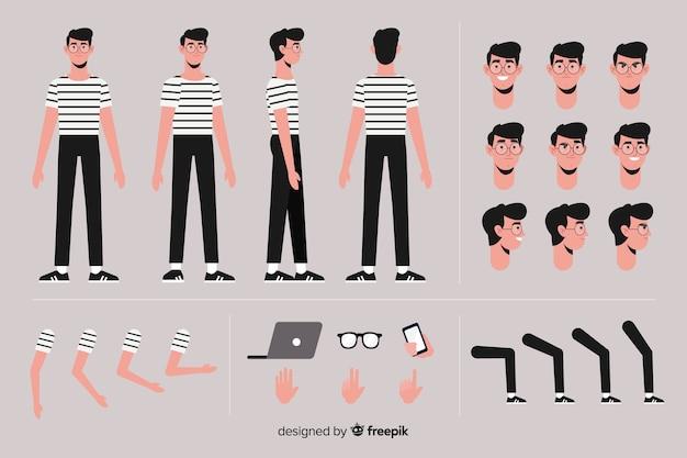 Muestra personaje chico dibujos animados vector gratuito