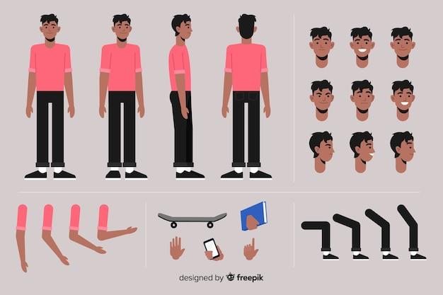 Muestra personaje hombre dibujos animados vector gratuito