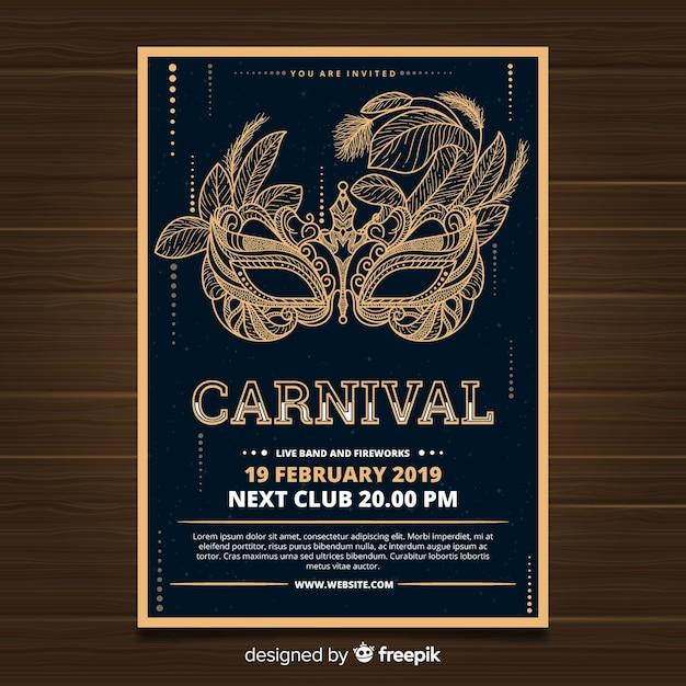 Muestra póster carnaval máscara dorada vector gratuito