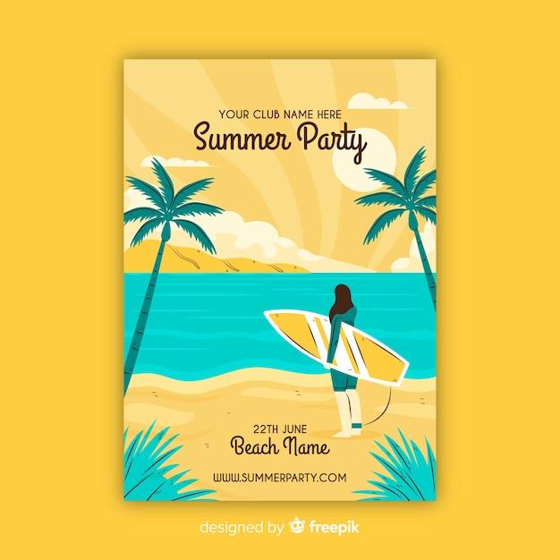 Muestra póster dibujado a mano fiesta de verano vector gratuito