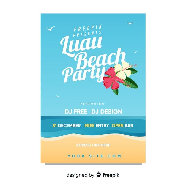 Muestra póster orilla playa fiesta luau vector gratuito