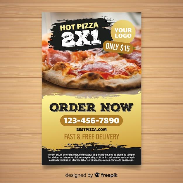 Muestra póster pizza fotográfico vector gratuito