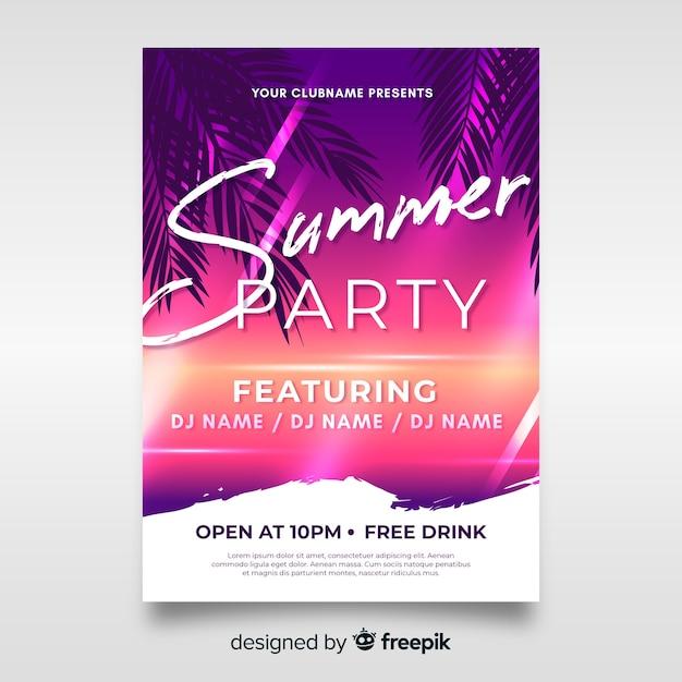 Muestra poster realista fiesta de verano vector gratuito