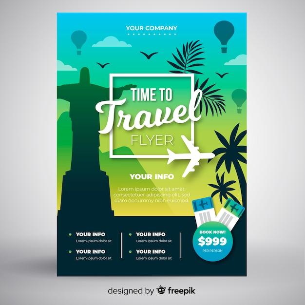 Muestra póster viaje palmeras vector gratuito