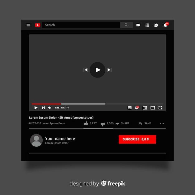 Muestra reproductor multimedia realista vector gratuito