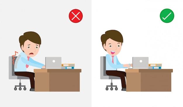 La muestra del tipo sentado de manera incorrecta y correcta, postura correcta e incorrecta, concepto de atención médica. ilustración de síndrome de oficina. Vector Premium