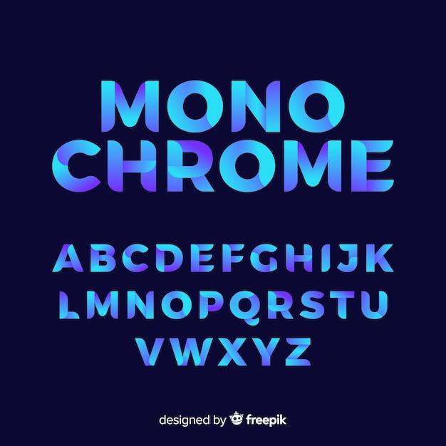 Muestra tipografía alfabeto degradado vector gratuito