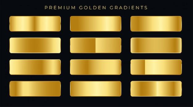 Muestras de gradientes de oro premium conjunto vector gratuito