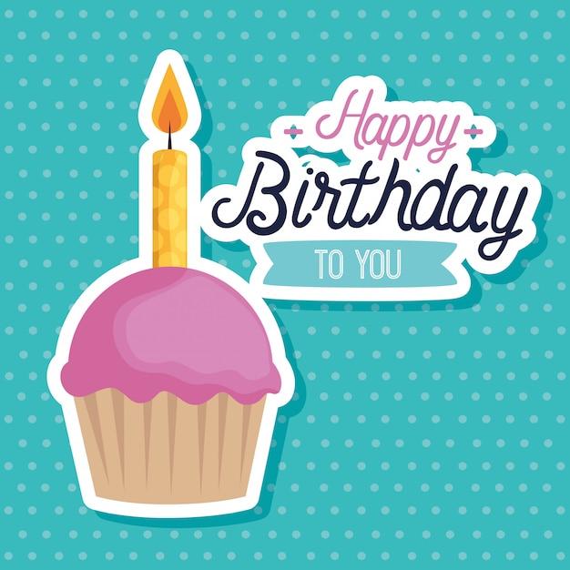 Muffin dulce con velas tarjeta de felicitación vector gratuito