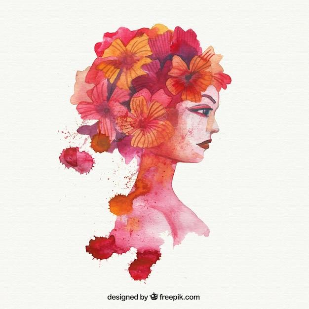 Mujer De Acuarela Con Flores En El Pelo Descargar Vectores Gratis