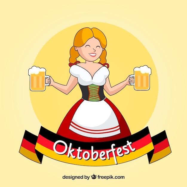 Mujer alemana feliz con jarras de cerveza y bandera alemana vector gratuito