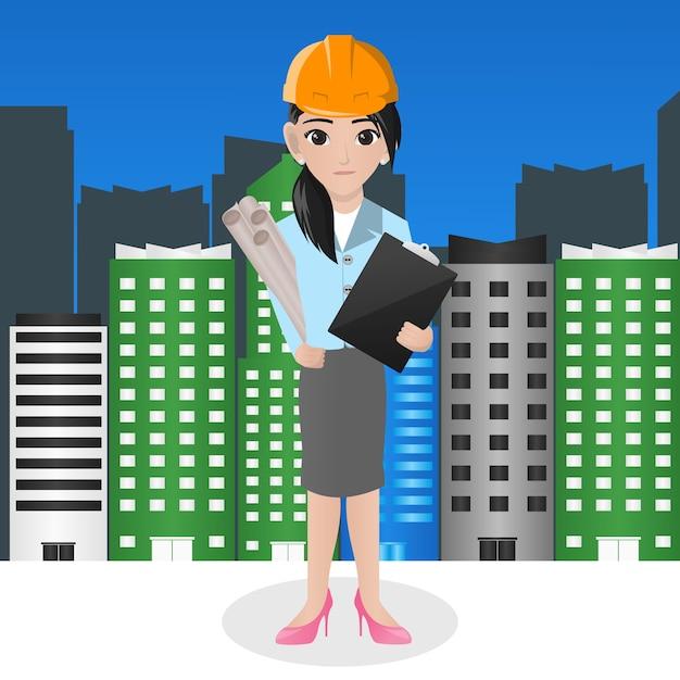 software arquitectura gratis mujer arquitecto holding blueprint descargar vectores