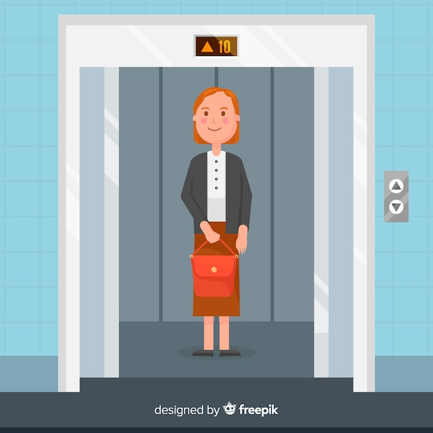 Mujer en ascensor vector gratuito